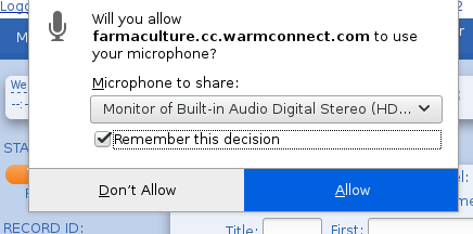 WarmConnect Dialer Agent Allow Microphone Permissions